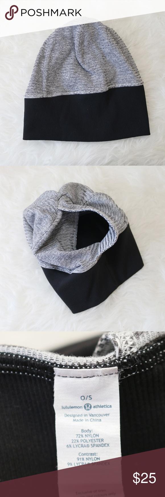 fdd12d376cb Lululemon Beanie Hat Soft Ponytail Hole Black Gray Lululemon. Soft  reversible cocoa pique hat with