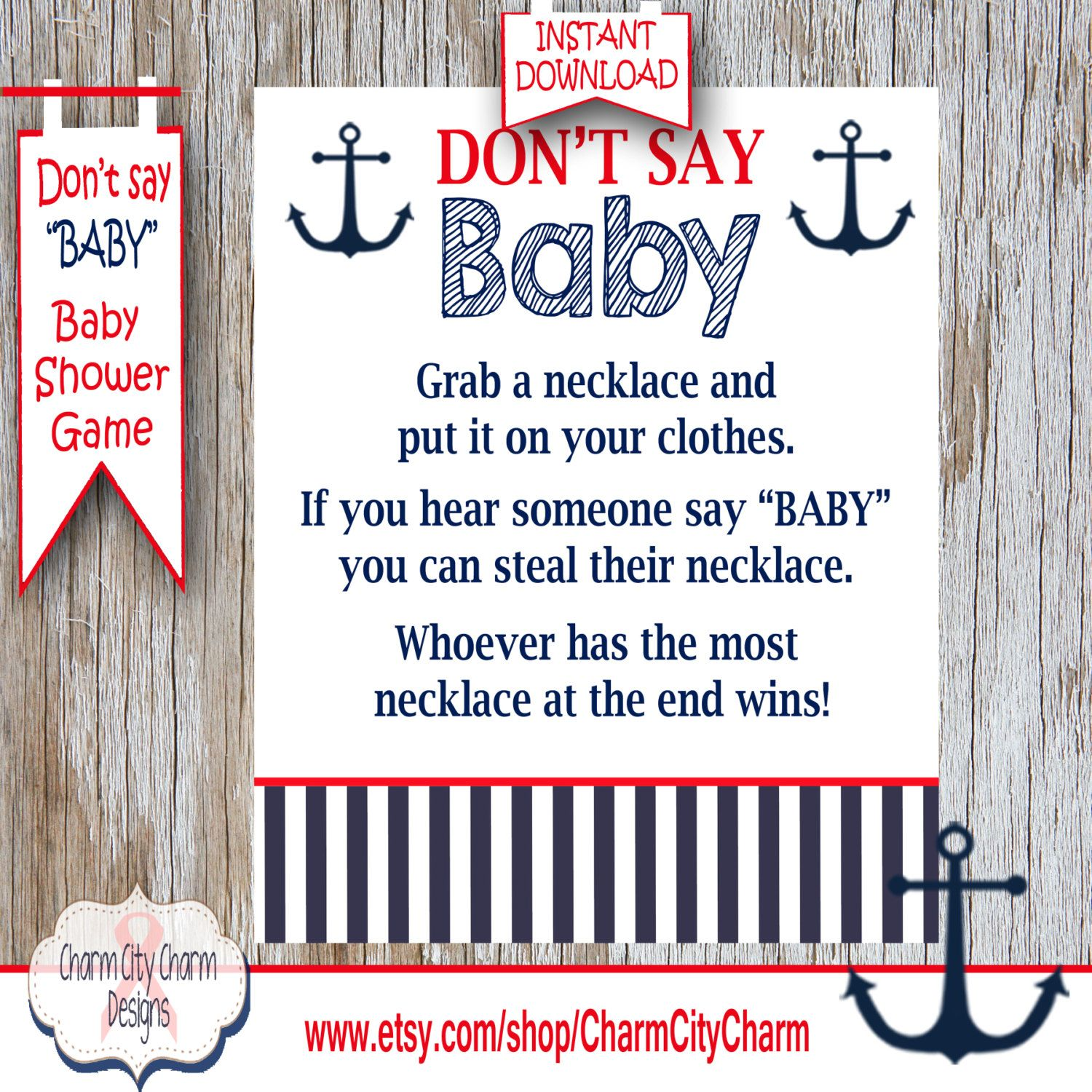 Baby Shower Clothes Pin Game Don't Say Baby Baby Shower Game Nautical Clothes Pin Game Nautical