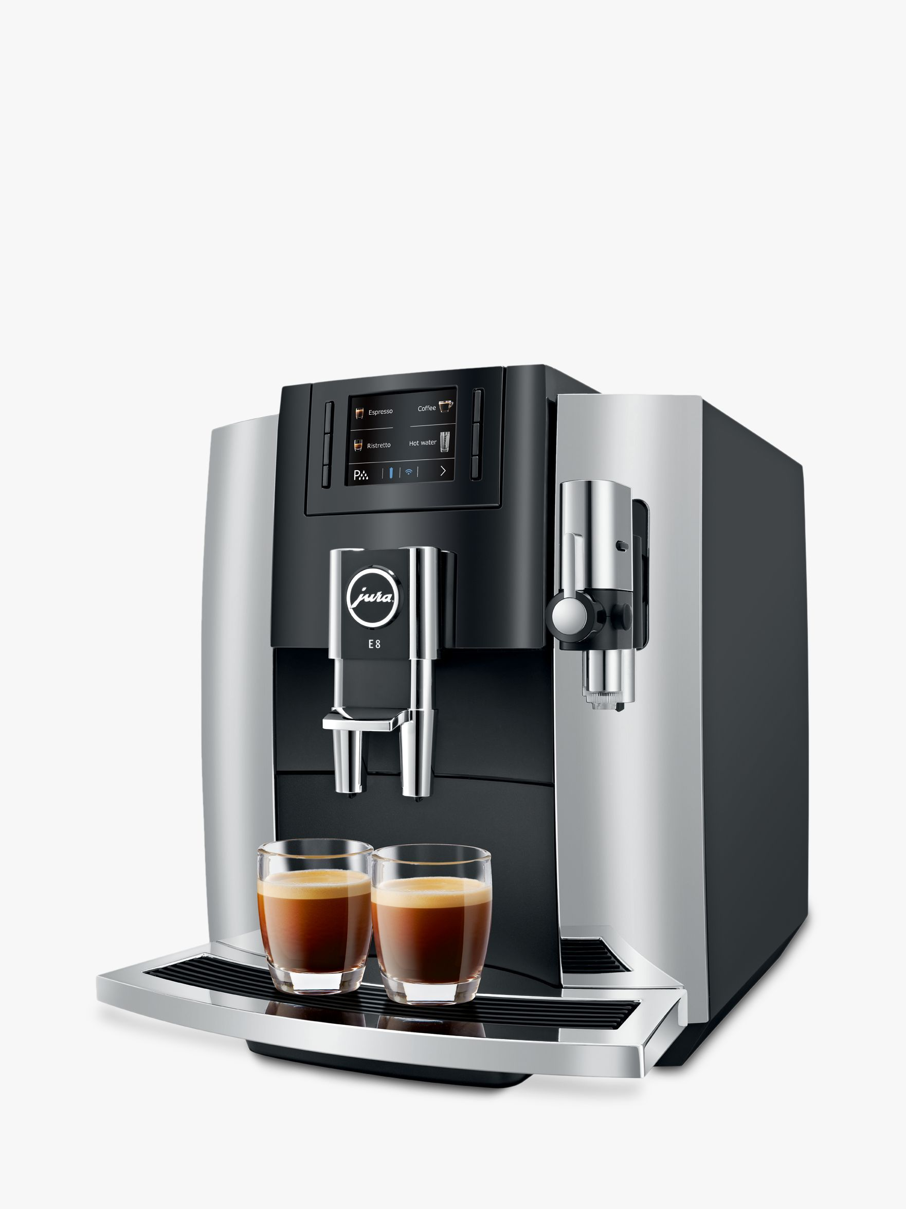 JURA E8 Bean-to-Cup Automatic Coffee Machine, Chrome