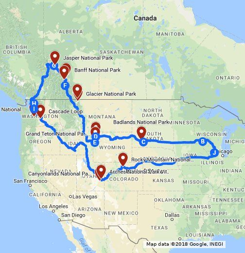 80 Day Road Trip - 13 National Parks, 13 U.S. States and 2 Canadian ...