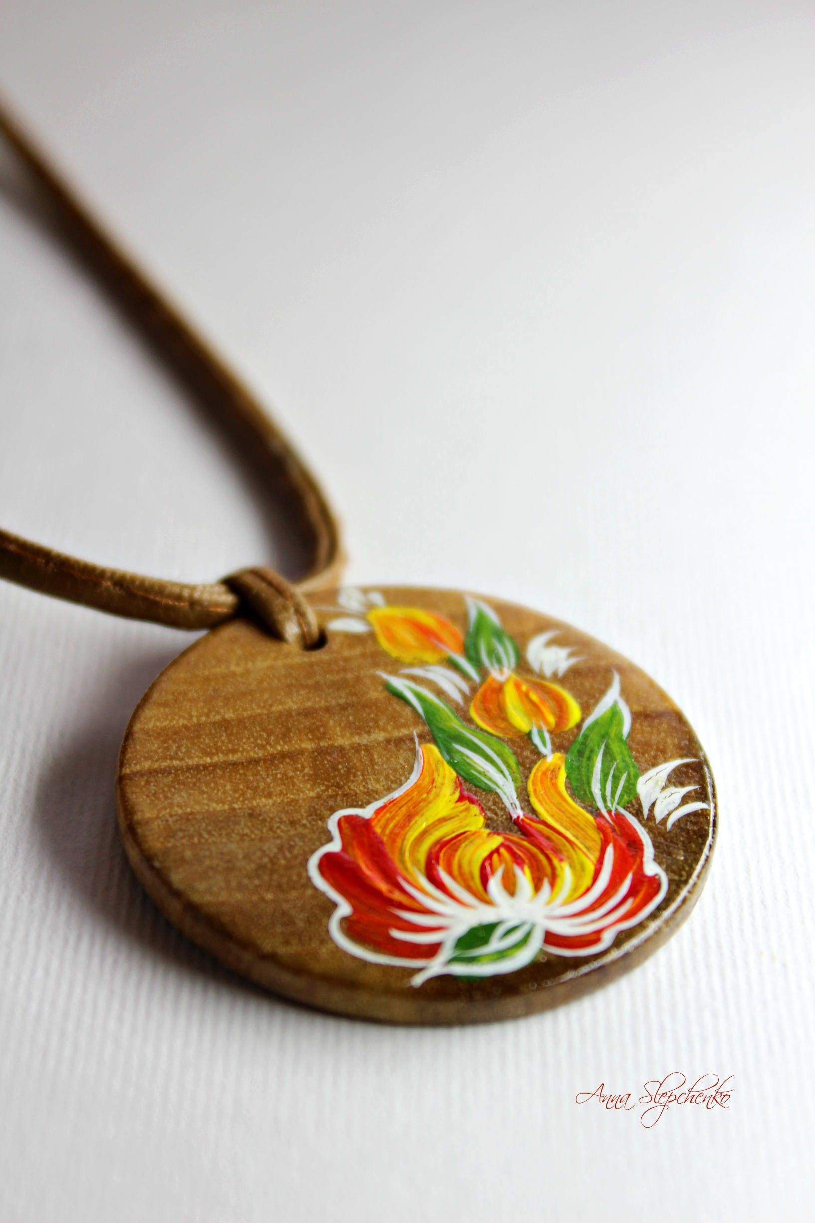 Wooden Pendant With Hand Painted Neck Decoration Pendant Etsy Hand Painted Jewelry Painted Jewelry Wooden Necklace