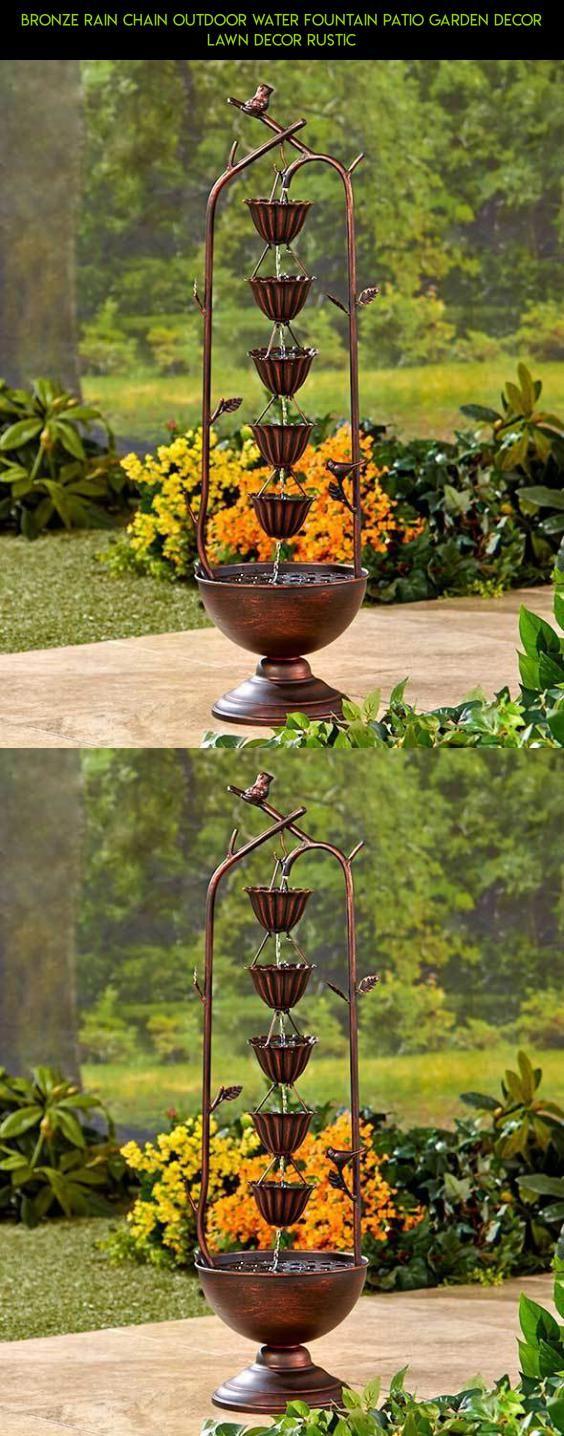 Bronze Rain Chain Outdoor Water Fountain Patio Garden Decor Lawn ...