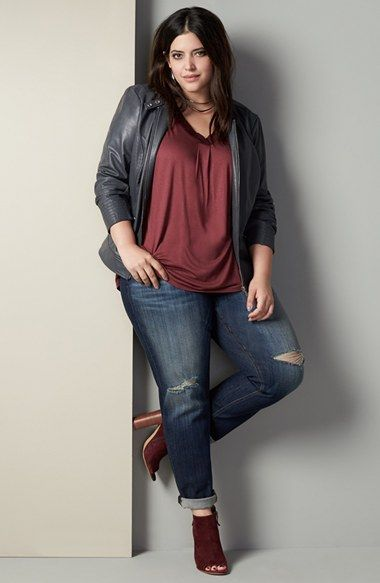 Sejour Moto Jacket, Tee & KUT from the Kloth Jeans Outfit with Accessories (Plus Size) available at #Nordstrom