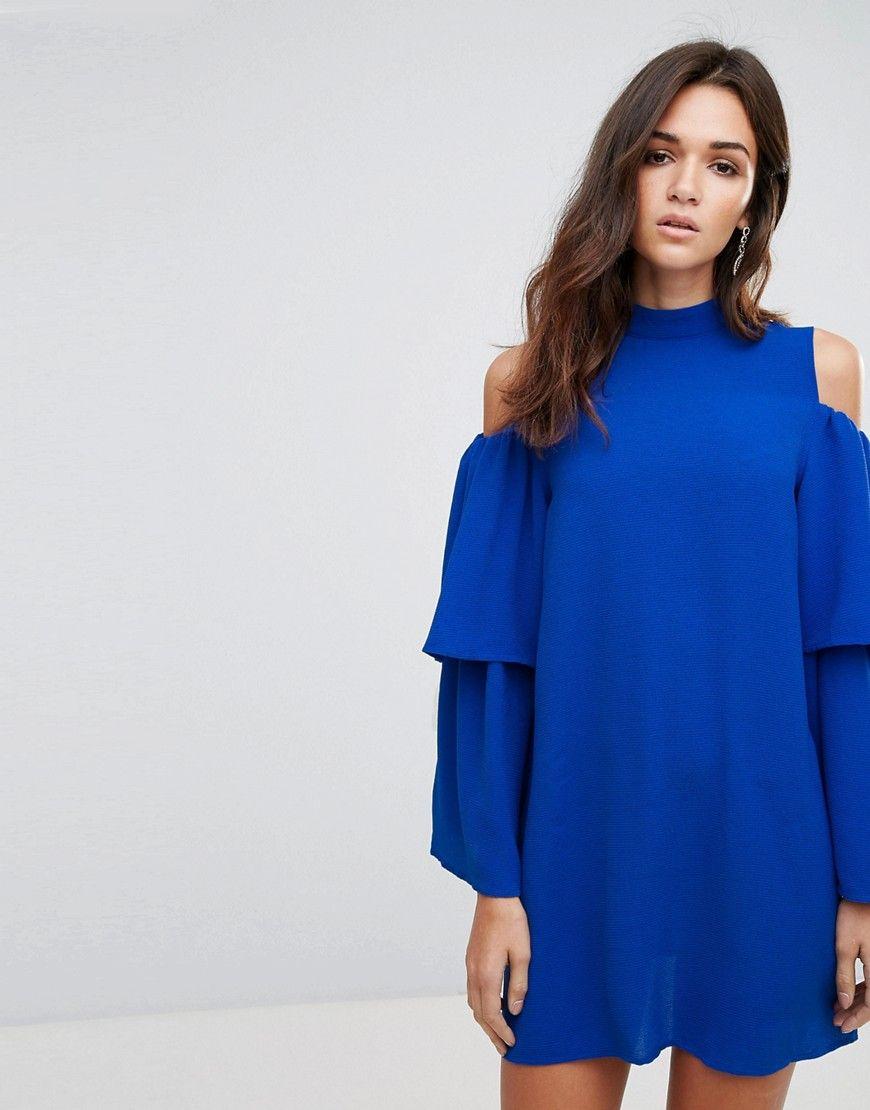 Ax paris cold shoulder frill sleeve shift dress blue products