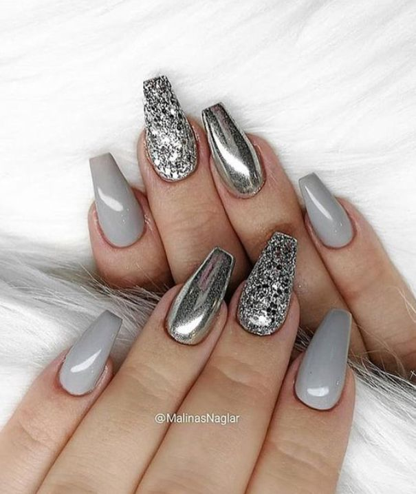 silver mirror and glitter nail