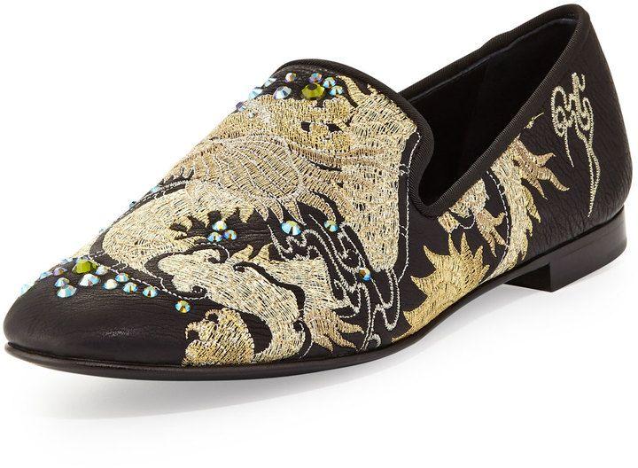 Giuseppe Zanotti Men's Embroidered Dragon Loafer, Nero on shopstyle.com