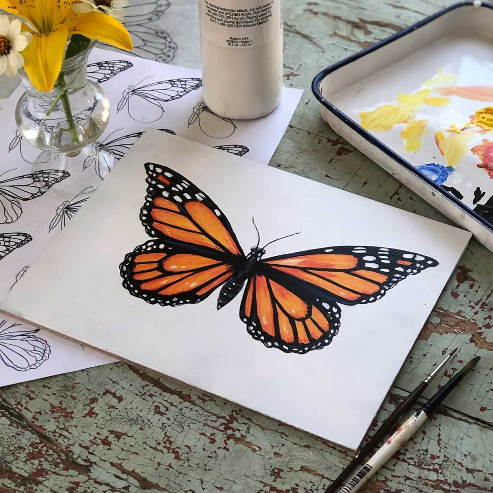 How to draw and paint a butterfly step by step tutorial with free downloadable worksheets!