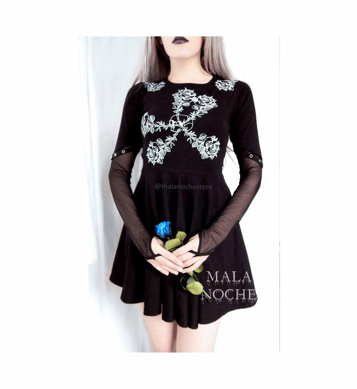 Dress Rosemary Dress Roses Black Dress Dark Clothing Mesh Dress Goth Dress Skater Dress Gothic Goth Glove Dress Gloves Dress Dark Outfits Mesh Dress [ 2835 x 2598 Pixel ]