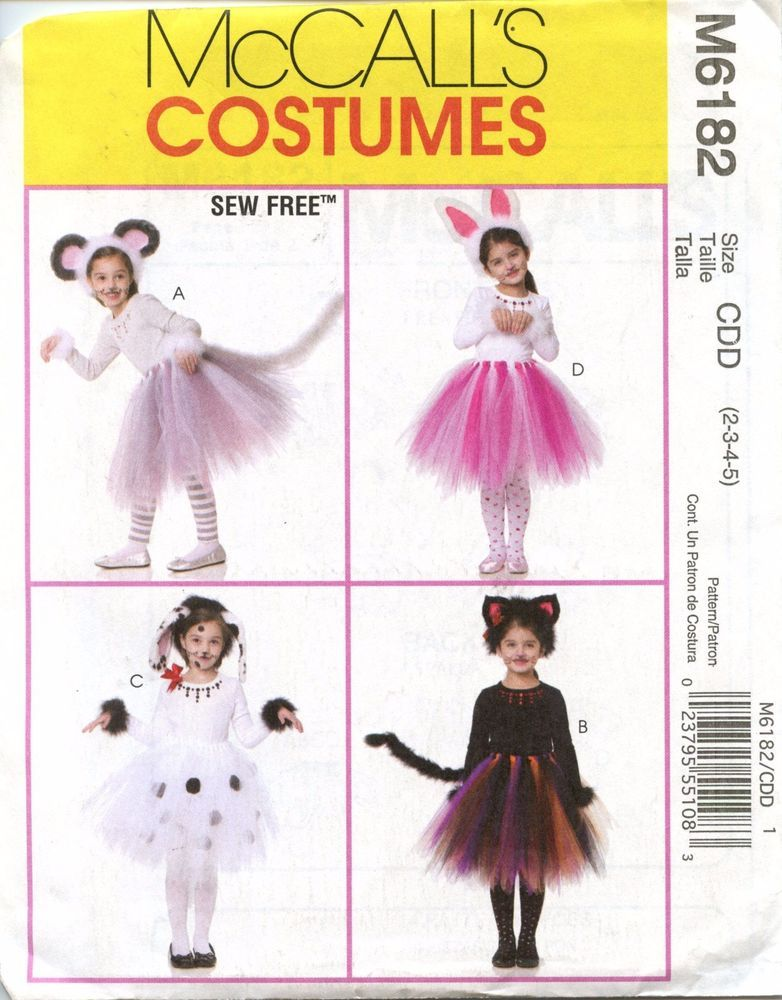 Mccalls Costumes Pattern M6182 Tutus And Ears Kitty Bunny Mouse