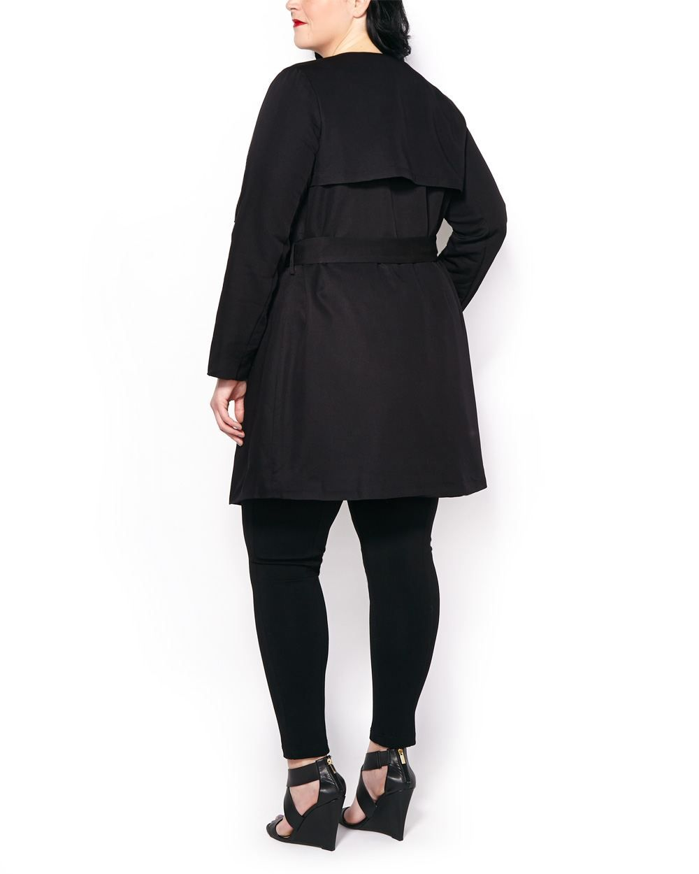 Long Sleeve Belted Open Trench Coat