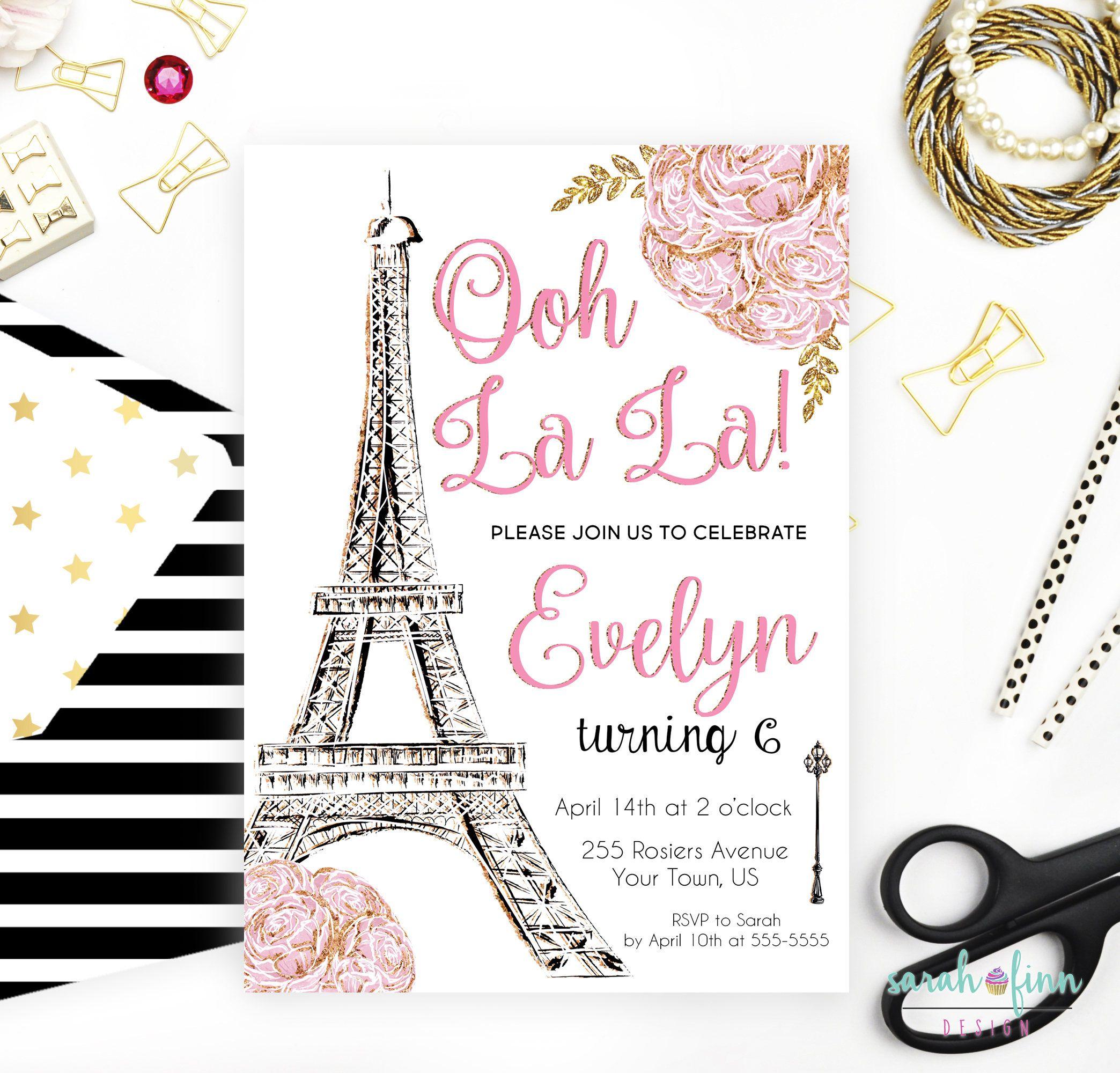 Paris Invitation Paris Birthday Party Eiffel Tower Paris Invite ...