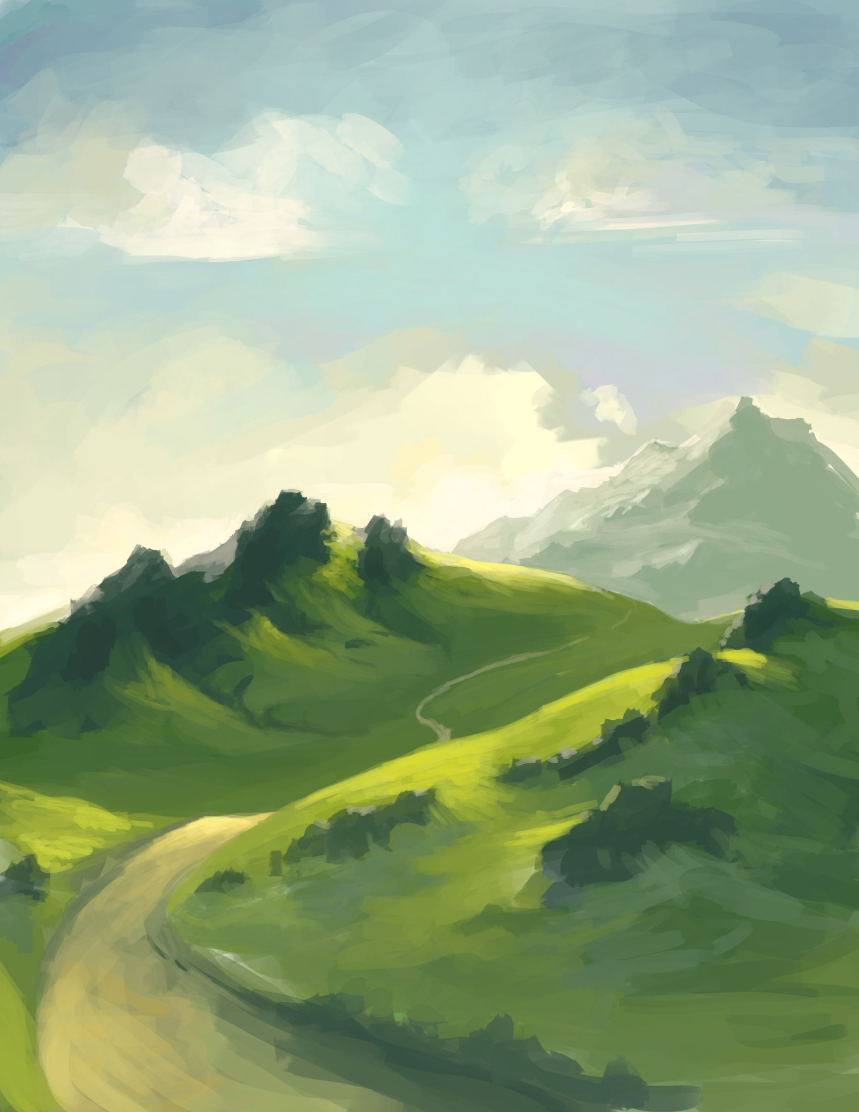 Rolling Hills Drawing at PaintingValley.com   Explore collection of...