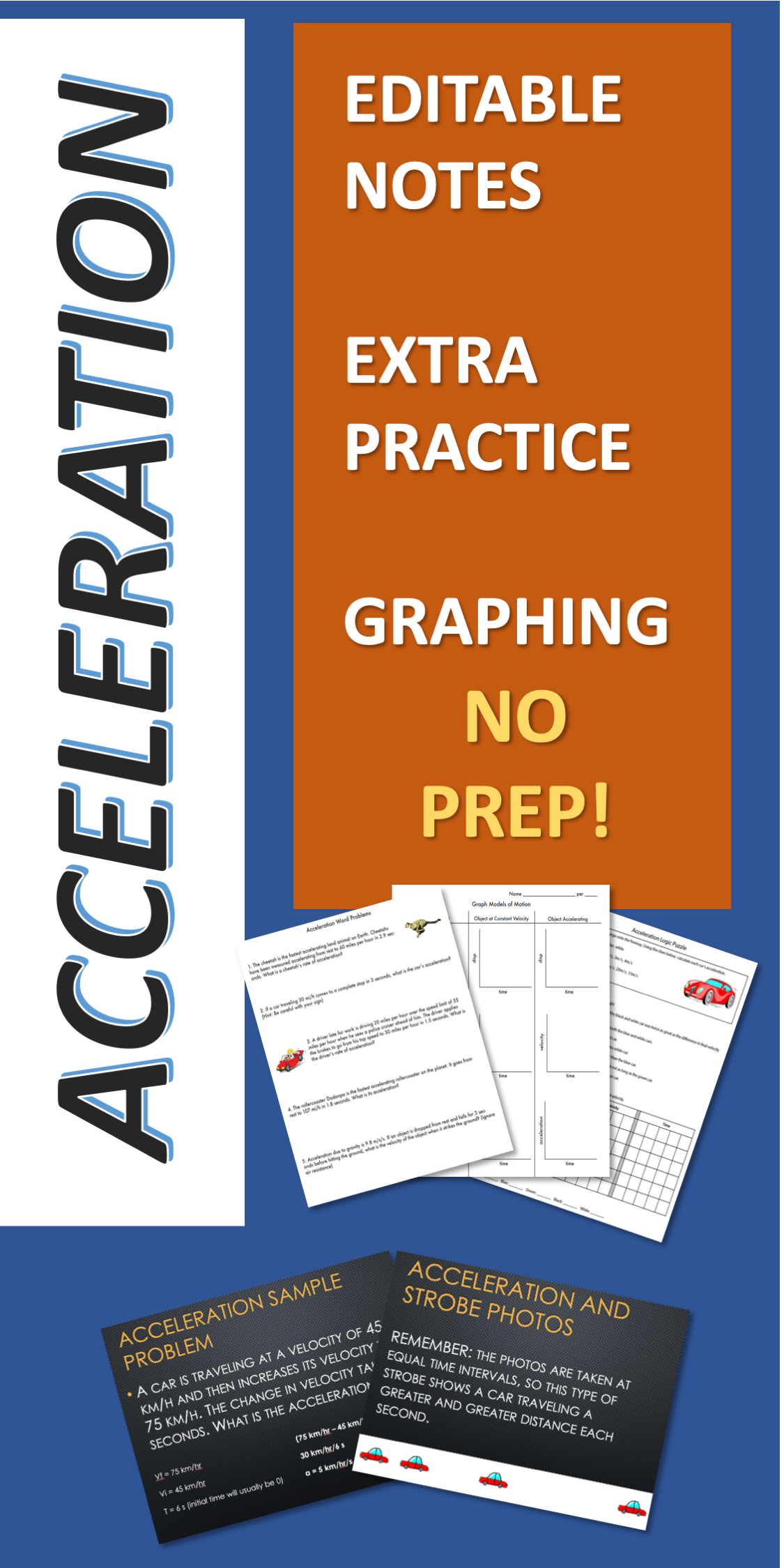 Acceleration Editable Notes Worksheets Graphing And A