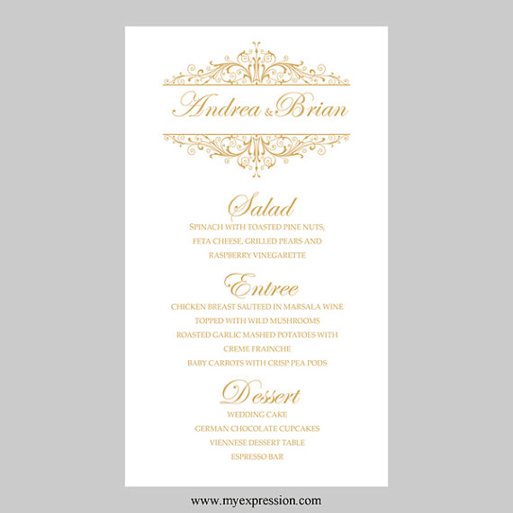 Wedding Menu Card Template u2013 Vintage Filigree (Gold) - Instant - menu template for word