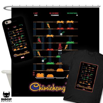 DEADPOOL - CHIMICHANGA TIME  Deadpool's favorite meal of all time are Chimichangas! This Deadpool design parodies the Burger Time video game, but it's title Chimichanga Time instead! #Deadpool #Marvel #Chimichangas #ShowerCurtain #PhoneCase #TShirt #Tee