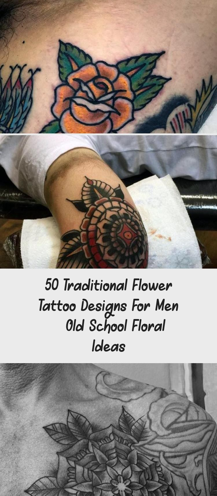 Photo of 50 Traditional Flower Tattoo Designs For Men – Old School Floral Ideas – Tattoos