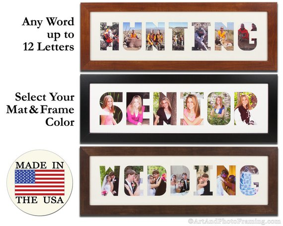 word mat picture frames can fit any word up to 12 letters with spaces for photos in each letter several great frames to choose from too
