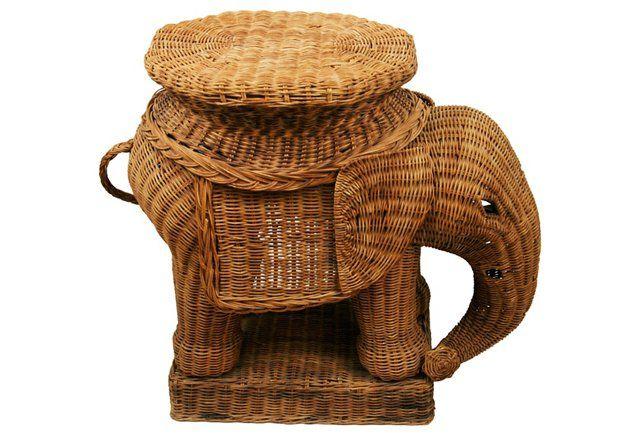 Elegant Wicker Elephant Side Table