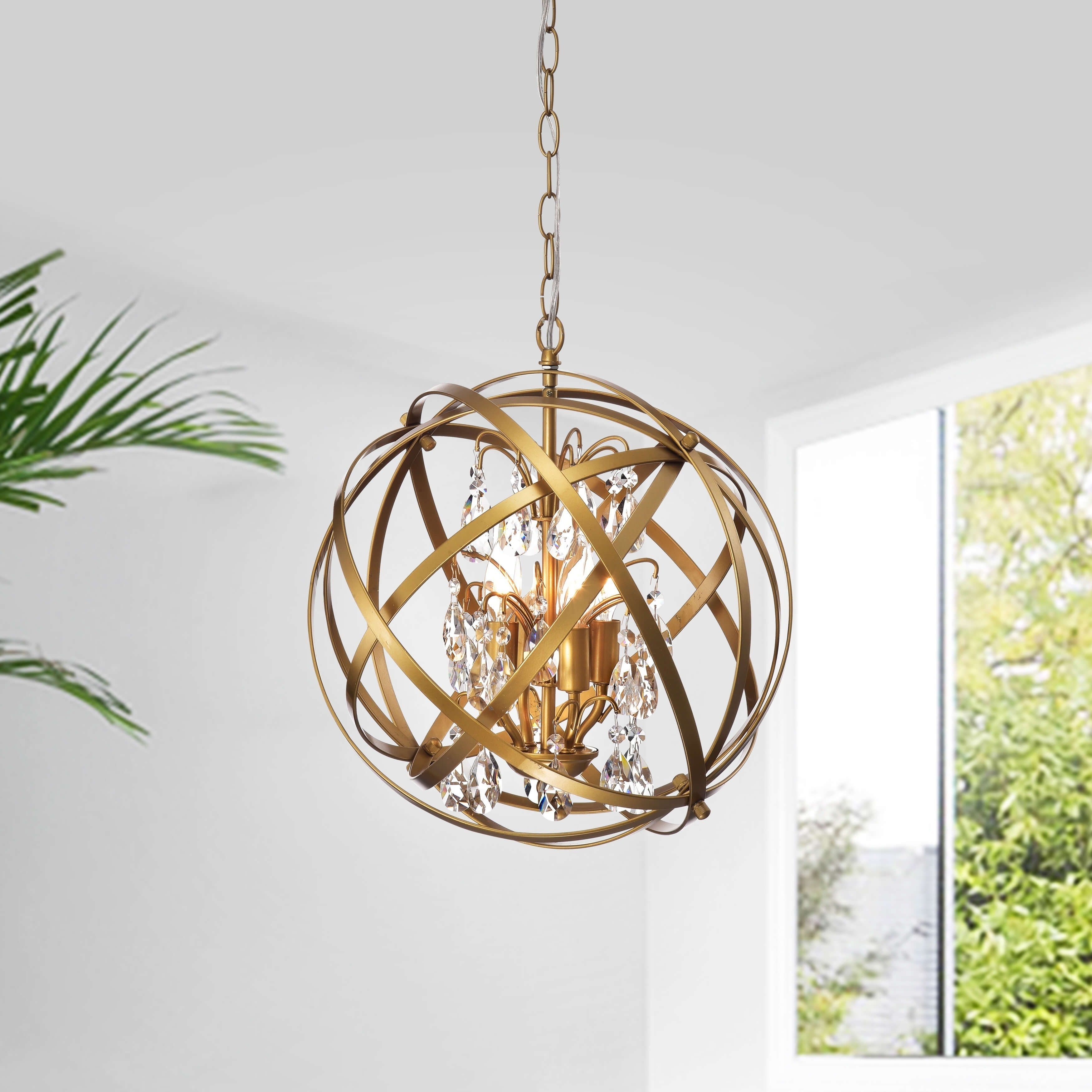 Benita Light Gold 3 Light Metal Grey Globe Crystal Chandelier