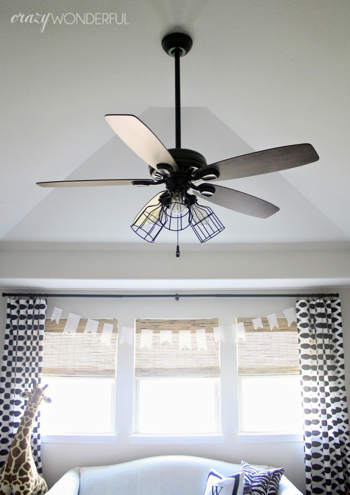 caged light ceiling fan remove glass shades add cages and switch to edison bulbs home and. Black Bedroom Furniture Sets. Home Design Ideas