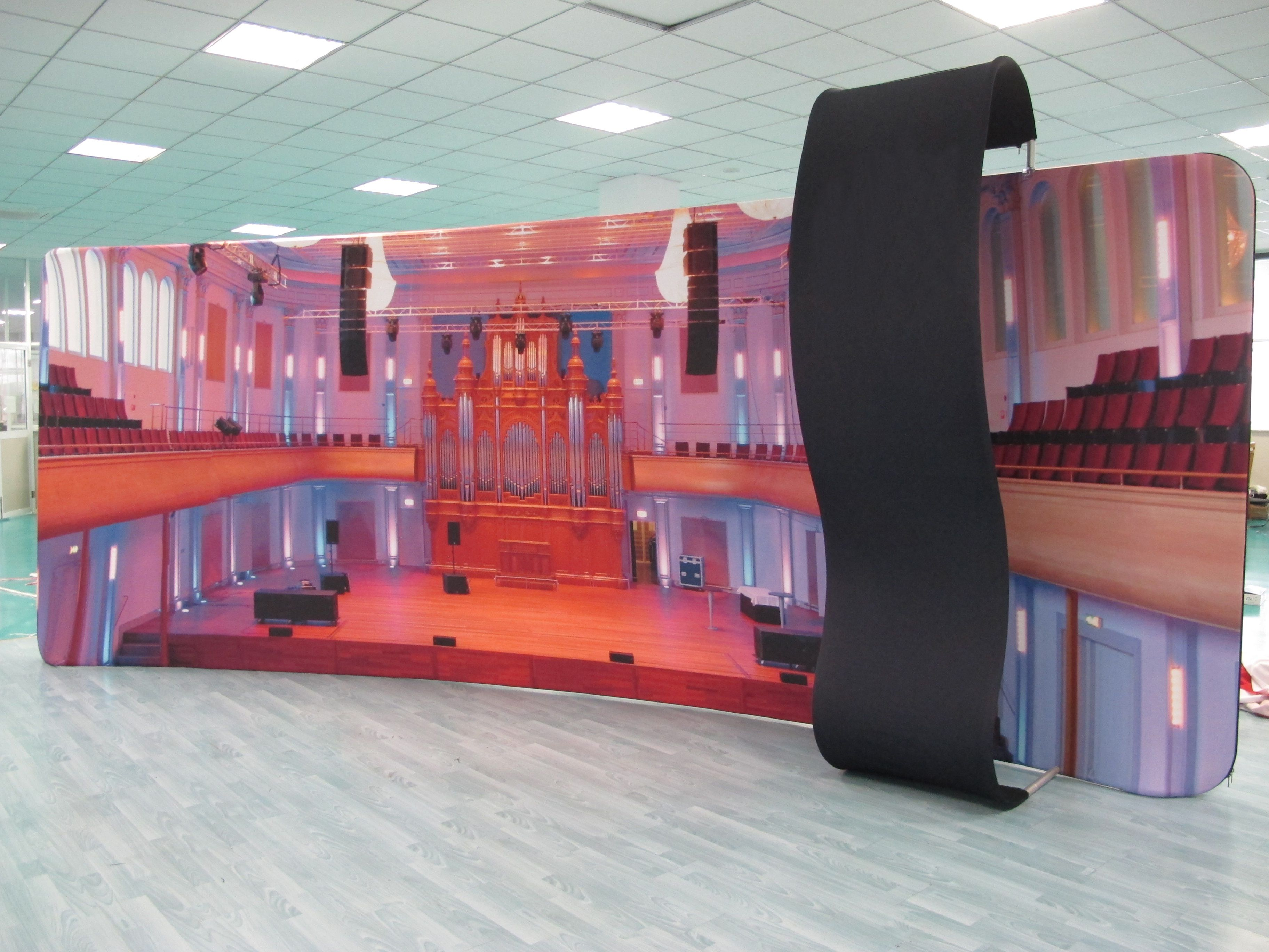 Hot sale tension fabric display stand 3D-dj600-003 of Hawk Display.  Features: hot sale display stand, easy to install and disassemble, vivid graphics, customized graphics and sizes.
