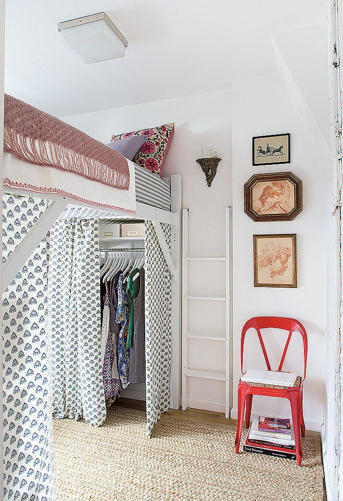 For Unexpected Clothing Storage Raise Your Bed Then Use The E Below As A Closet Complete Look With Curtains That Add Color Yet Keep