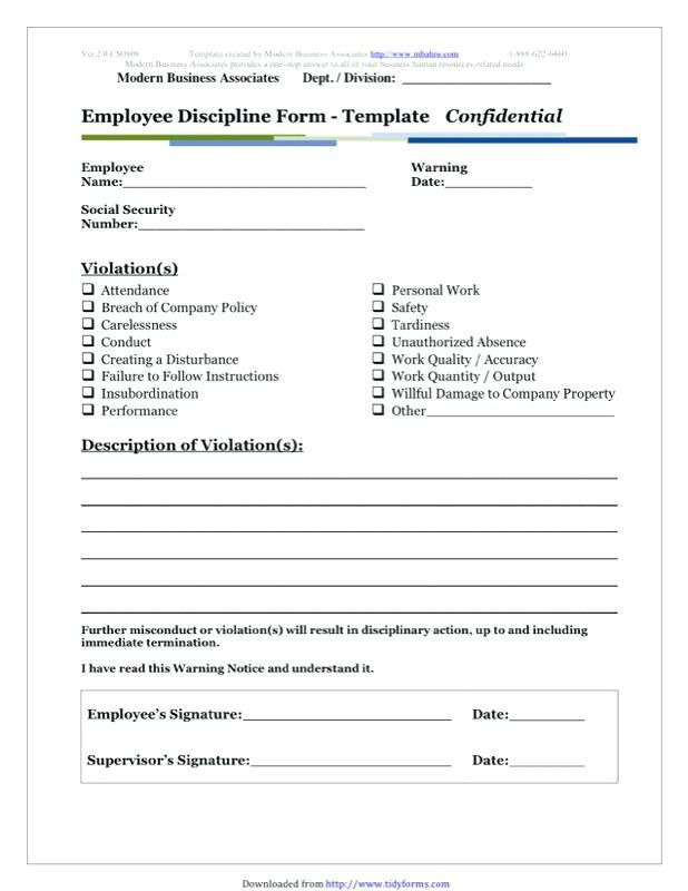 employee misconduct form template write up templates free