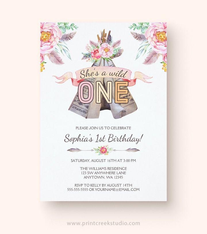 Boho Chic Tribal Teepee Girl Birthday Invitations | Party ...