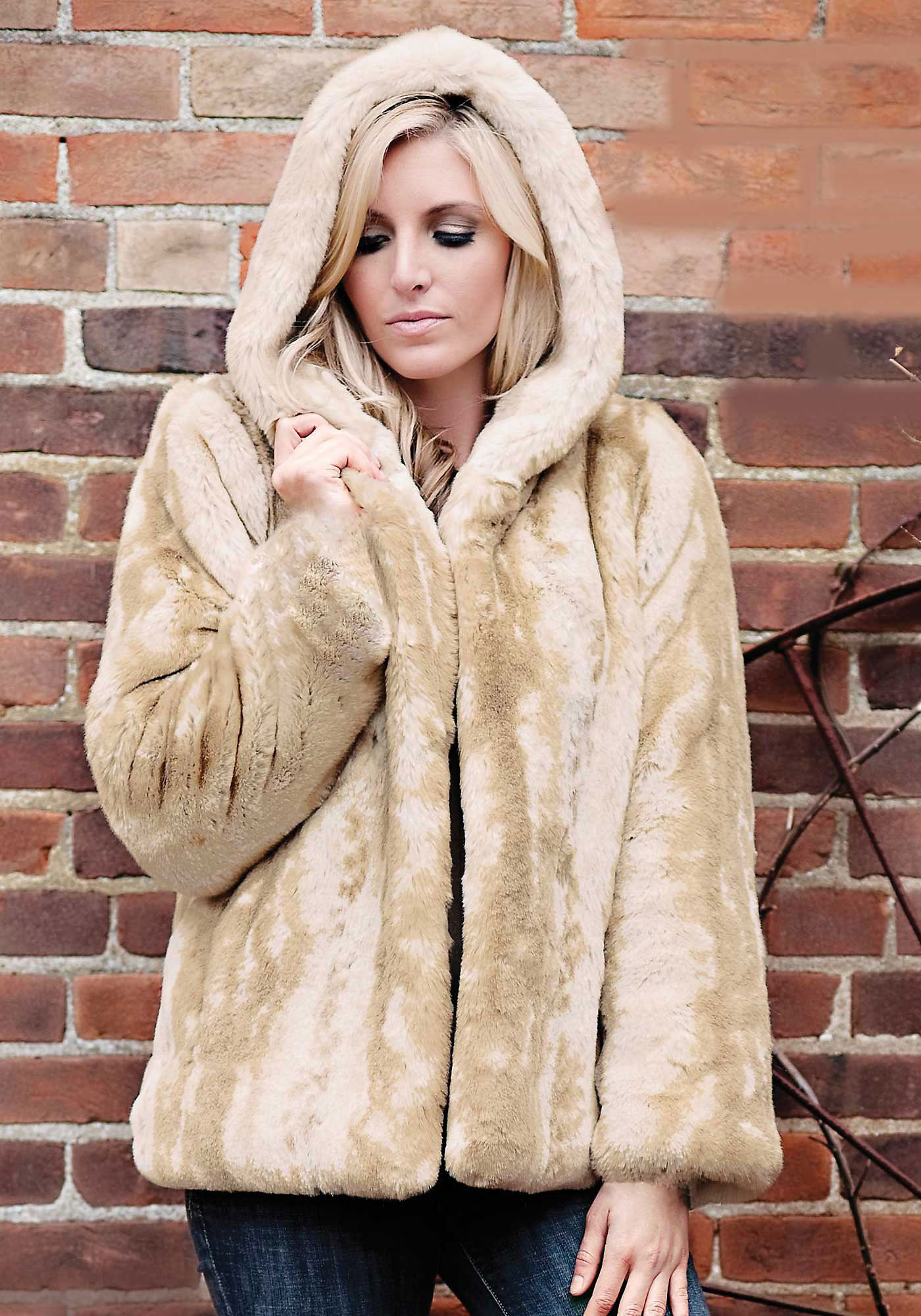 266f22bba68 Blonde Mink Couture Hooded Faux Fur Jacket