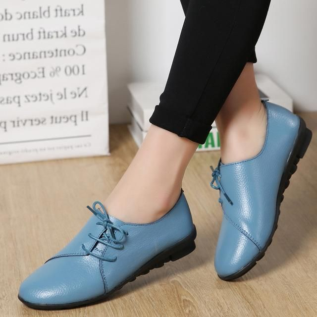 14d0b9ebec80 Women shoes 2018 new arrival spring lace-up pleated genuine leather flats  shoes woman rubber party female shoes tenis feminino - MAKE-UP ARTIST