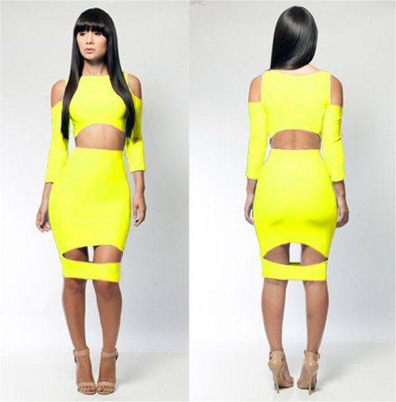 Sexy Neon Bodycon Mini Dress, neon green, neon yellow, hot pink ...
