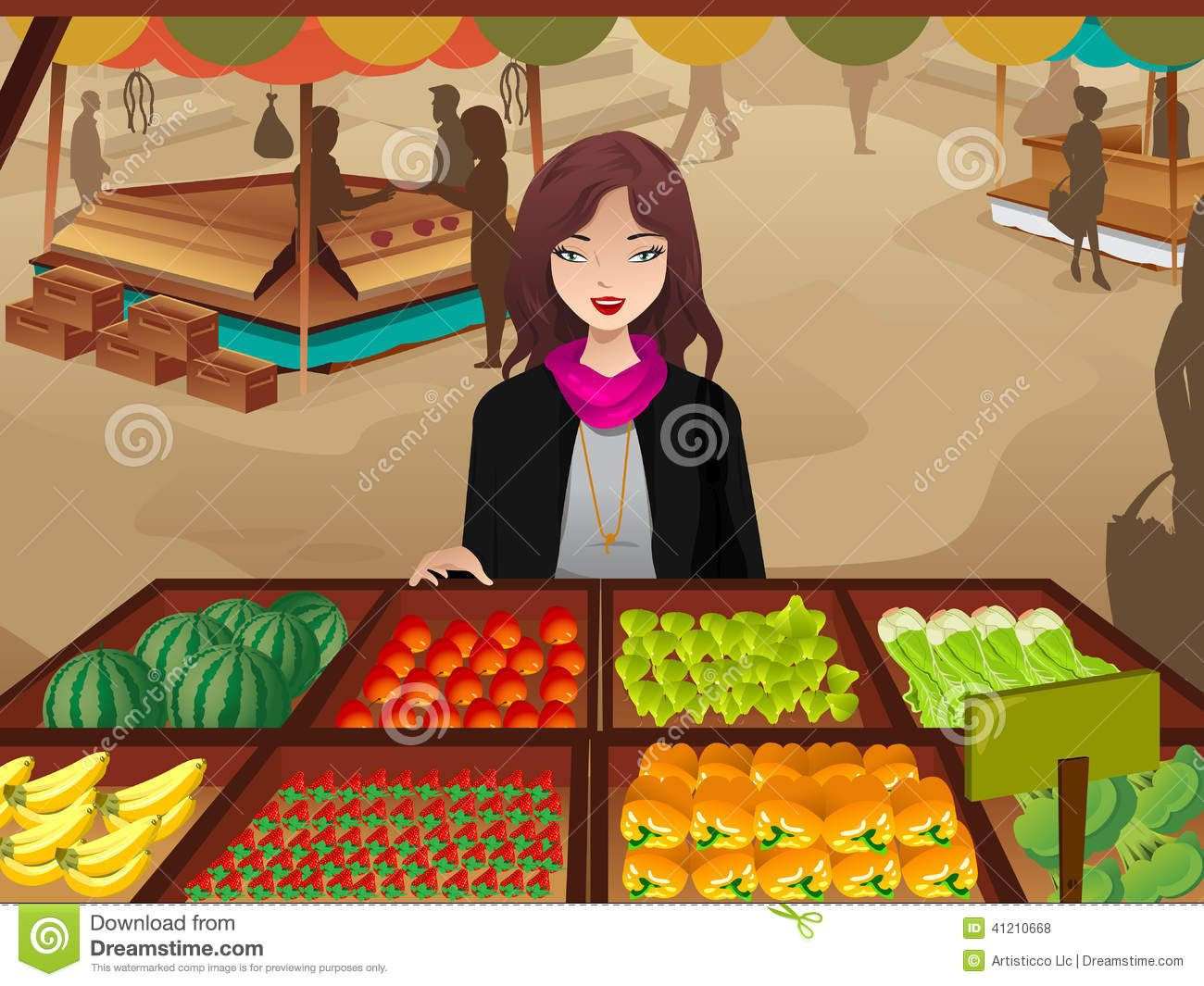 Woman Shopping At A Farmers Market