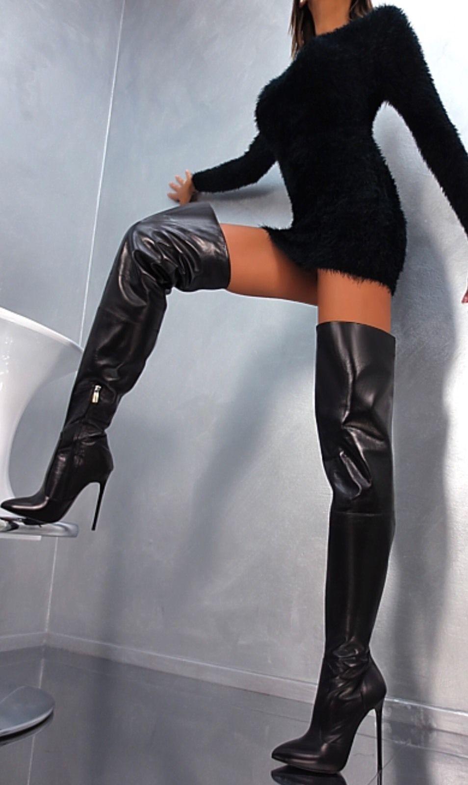 nib 1969 italia black napa leather thigh high boots