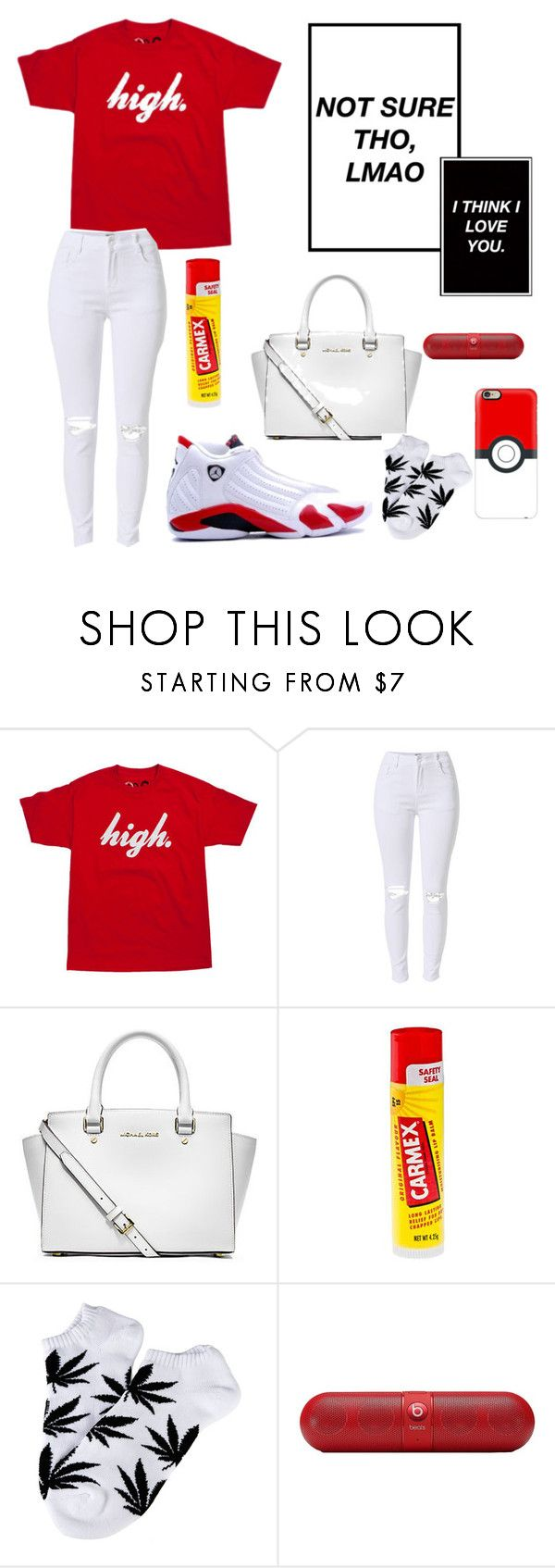 """""""High"""" by noelani-143 ❤ liked on Polyvore featuring Retrò, Michael Kors, Carmex, HUF, Beats by Dr. Dre and Casetify"""