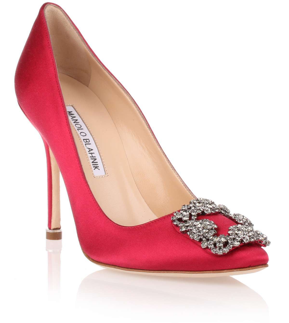 19cee3ccf4ea Cerise satin evening pump with a classic fume grey crystal embellished  ornament from Manolo Blahnik. The Hangisi pump has a slightly pointed toe