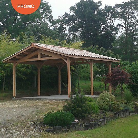 Abris 2 pans - Charpente bois livrée en kit - Appentis Garage - construire son garage en bois