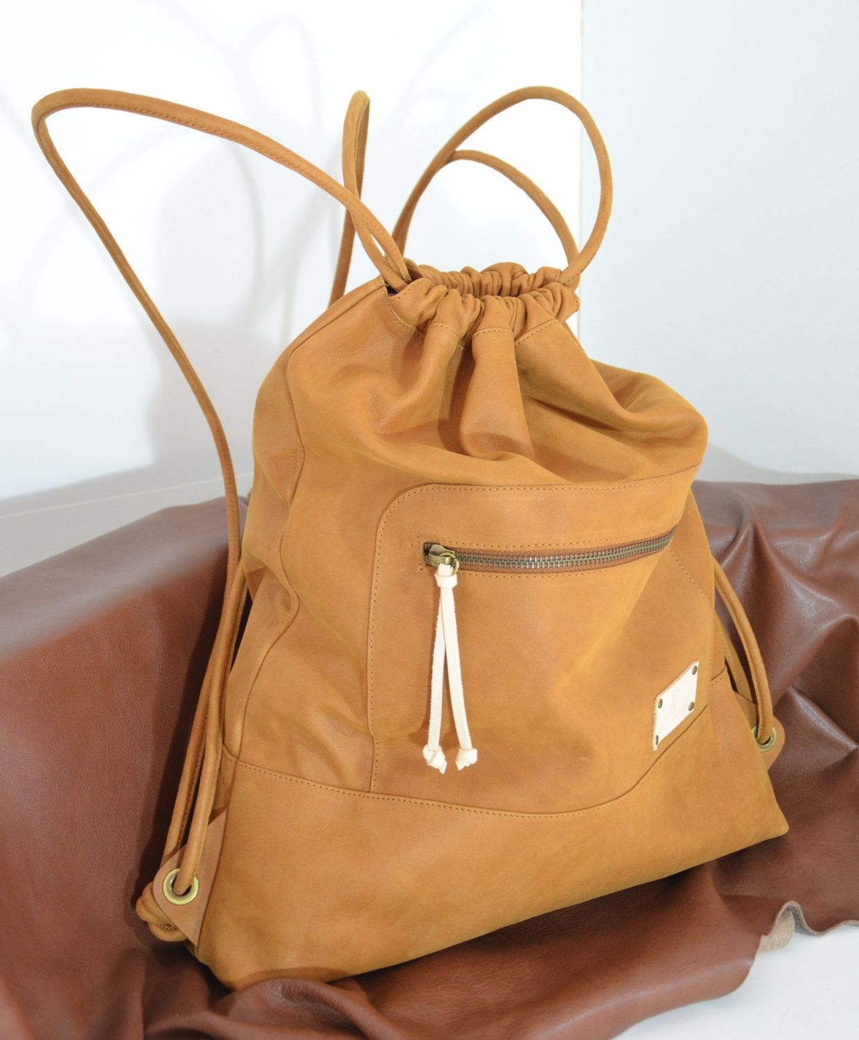 Excepcional Brown Leather Backpack,Leather Sack Bag,Sack Backpack,Large  OE91