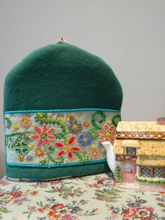 lambs wool hand embroidered tea cosy by madebybeaonline on Etsy, £55.00