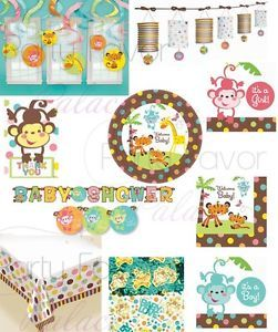 Fisher Price Welcome Baby Shower Jungle Plates Lantern Banner