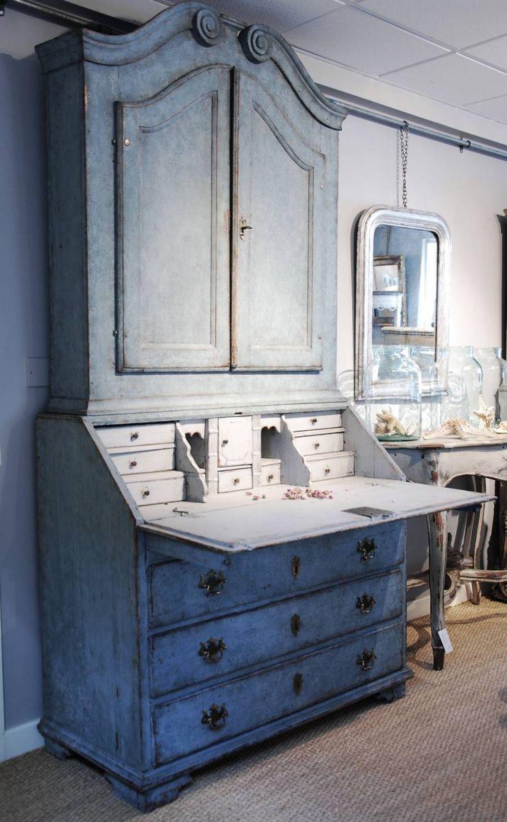 Best Swedish Blue Painted Bureau Bookcase C 1770 Furniture 400 x 300