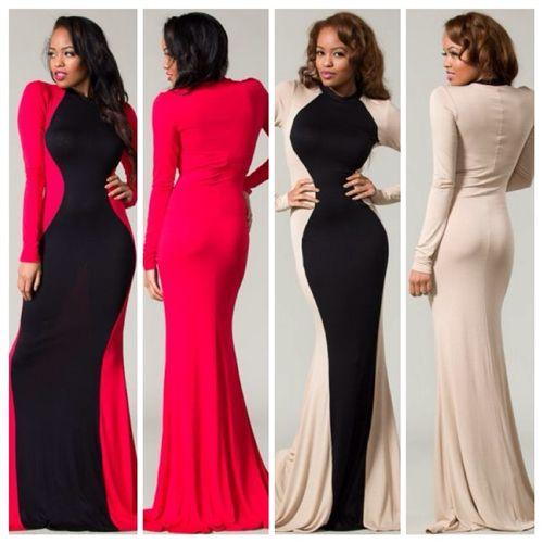 Long sleeve tight maxi dress   Good style dresses   Pinterest ...