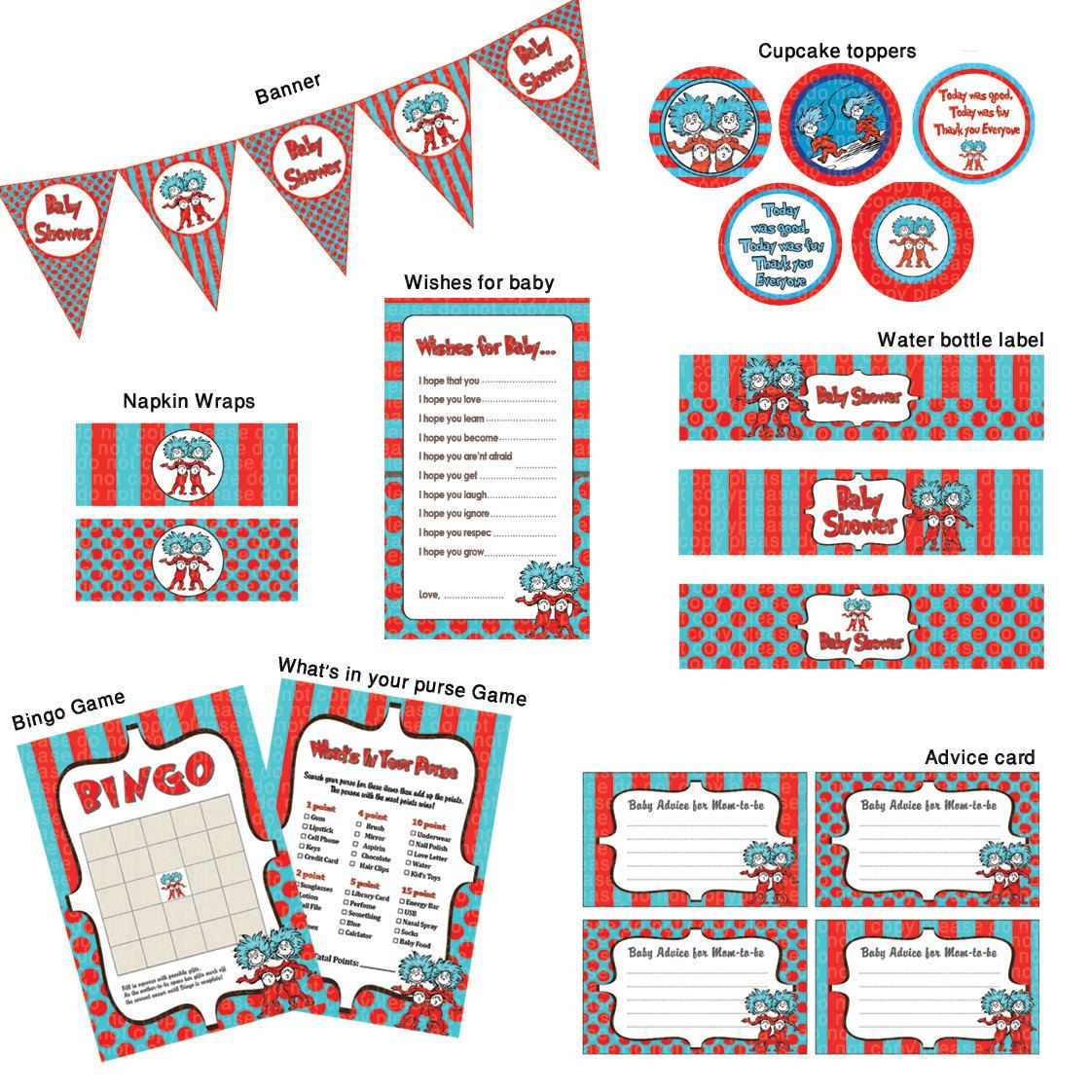 Thing 1 Thing 2 Baby Shower- Ready to Go Package- Printable. $5.90 ...