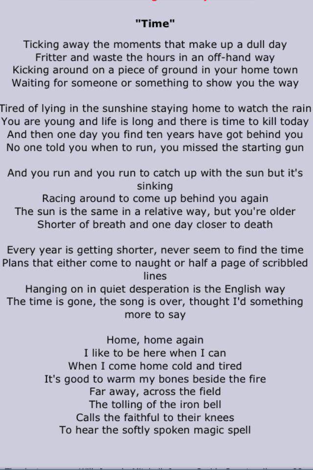 Pink Floyd With Images Pink Floyd Lyrics Pink Floyd Art Time