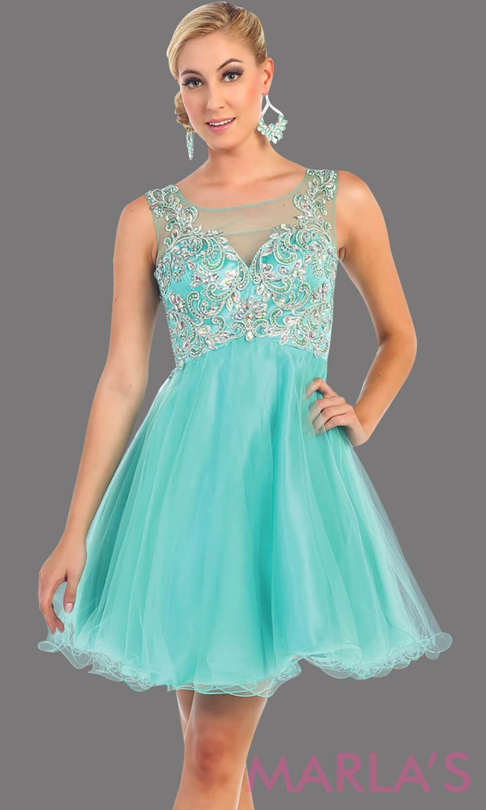 5f825c8c36a 1133-Short Puffy mint grade 8 grad dress with rhinestone bodice. This is a  perfect short prom dress