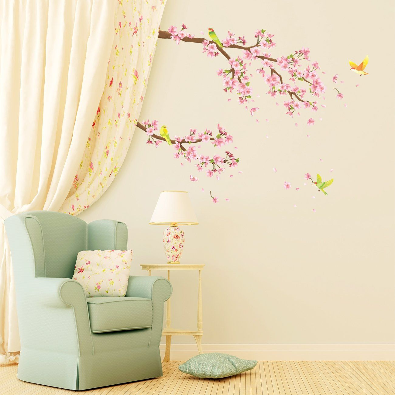 Decowall Dw1303 Cherry Blossoms And Birds Kids Wall Decals Wall