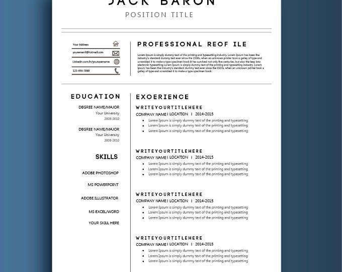 Modern Resume Template The Amelia Cv Template Word Resume