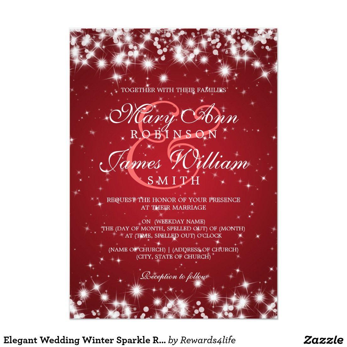 Elegant Wedding Winter Sparkle Red Card | Perfect Weddings ...