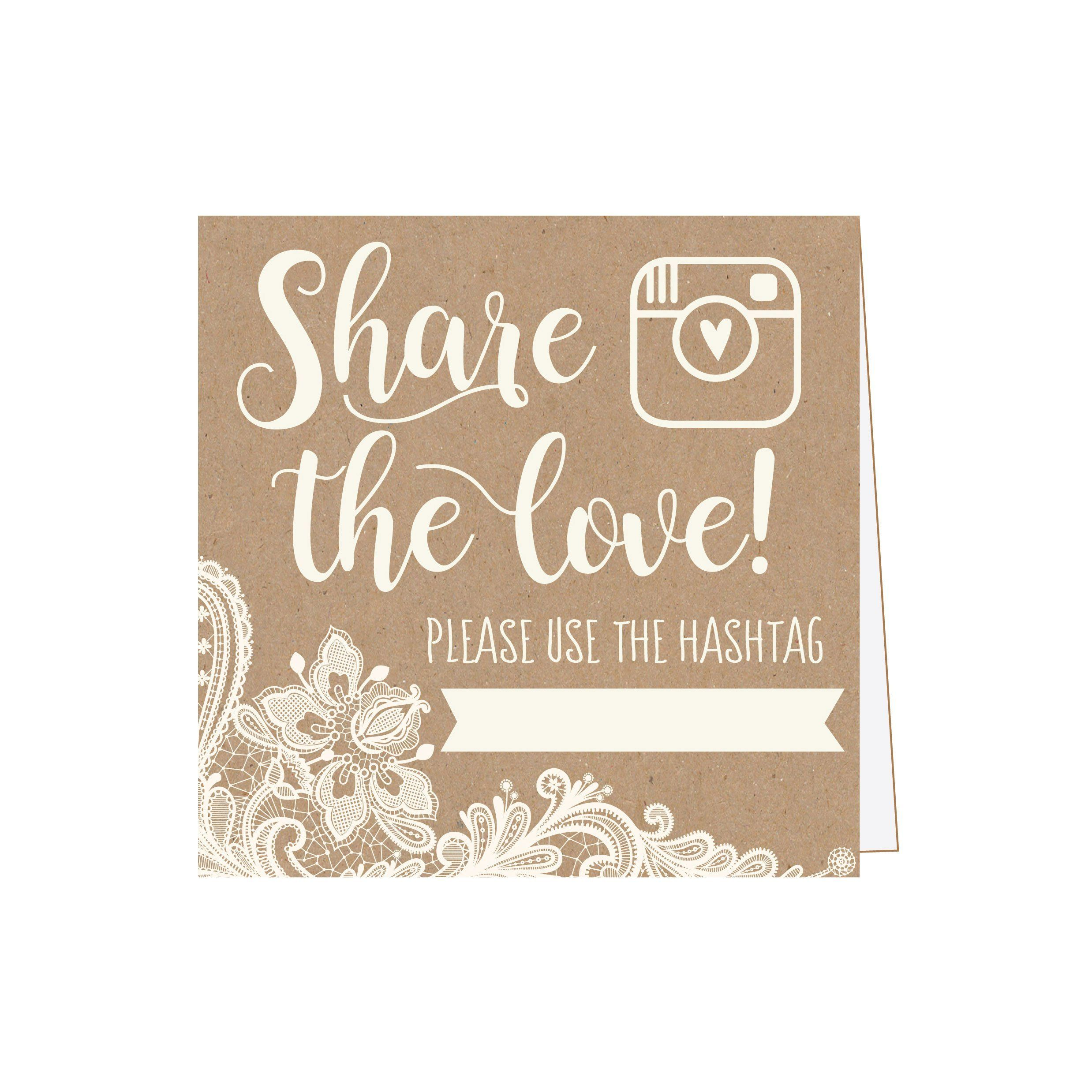 25 Kraft Lace Wedding Hashtag Signs, Rustic Vintage Table