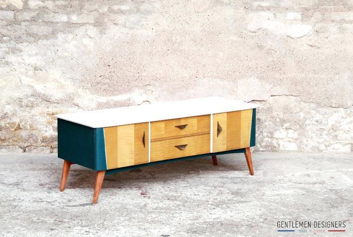 meuble renove meuble tv vintage ranova bleu canard et blanc - Renovation Meuble En Chene