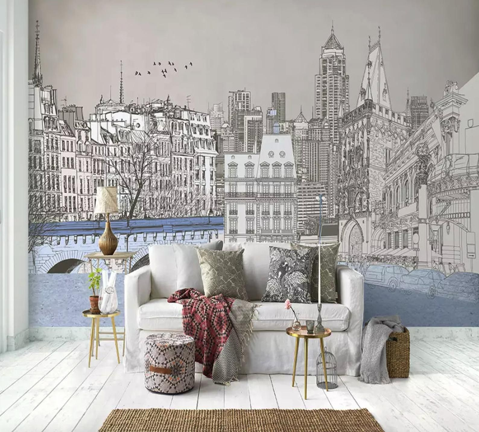 Charcoal City Wallpaper London Cityscape Wall Mural City Etsy